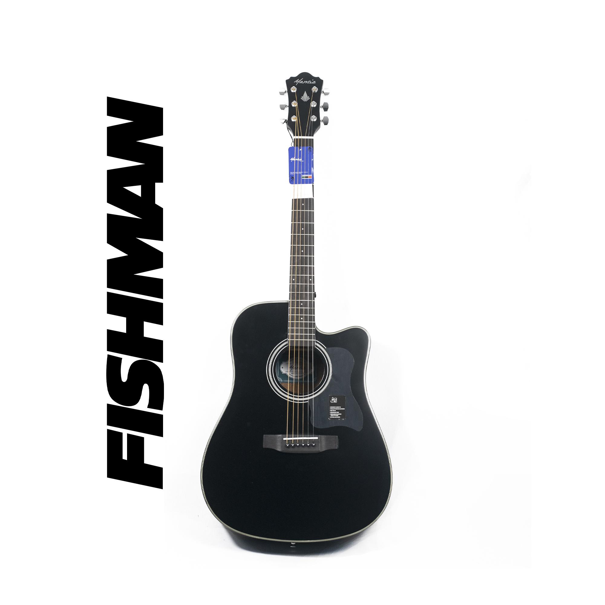 Mantic AG370CE  Semi -Acoustic Guitar with Fishman Electronics -Black