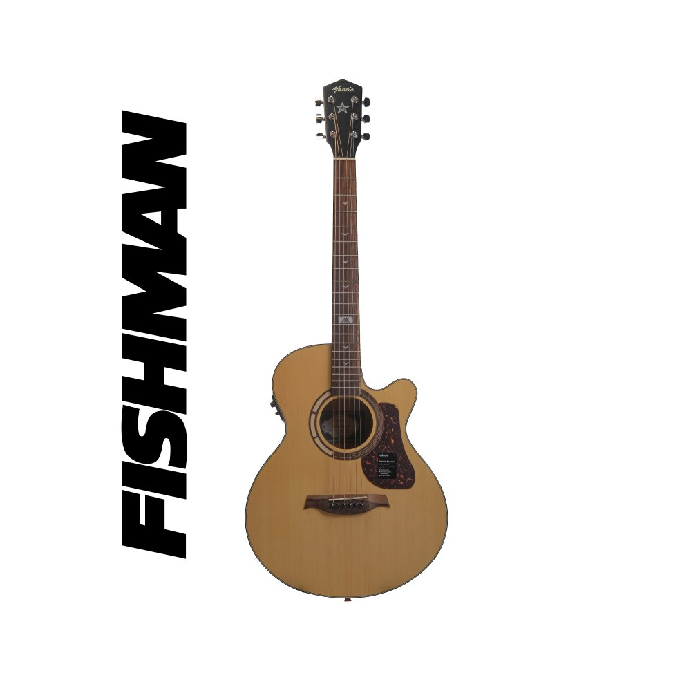 Mantic GT10AC -E Solid Top Semi- Acoustic Guitar with Fishman Electronics - Natural