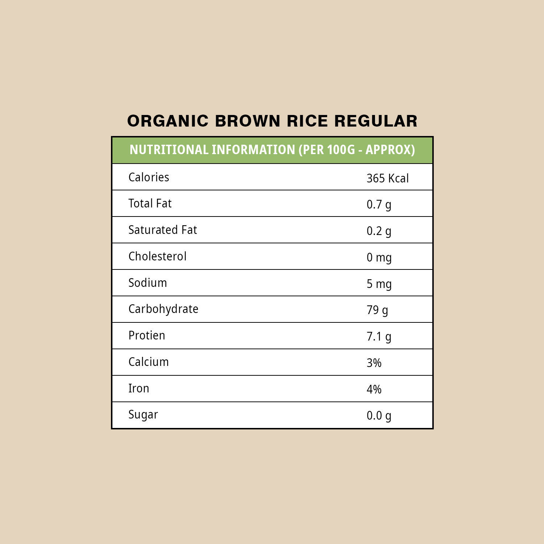 Organic Brown Rice Regular - 5 KG