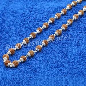5 Mukhi Silver Capped Indonesian Rudraksha Mala