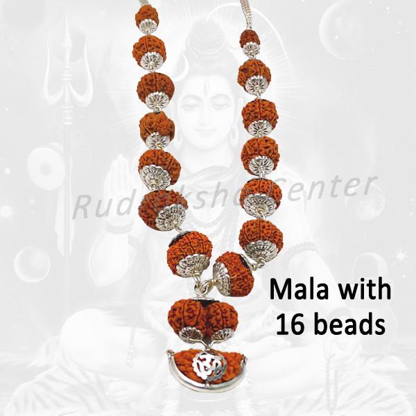 Shiva Shakti Mala with Silver Caps - Nepalese