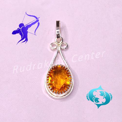 Golden Topaz Pendant for Sagittarius (Dhanu Rashi) & Pisces (Meen Rashi)