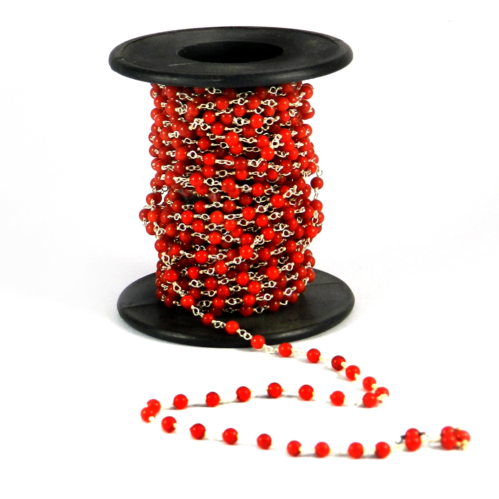 1 Ft Syn. Red Coral Beaded 925 Sterling Silver Link Chain Beads