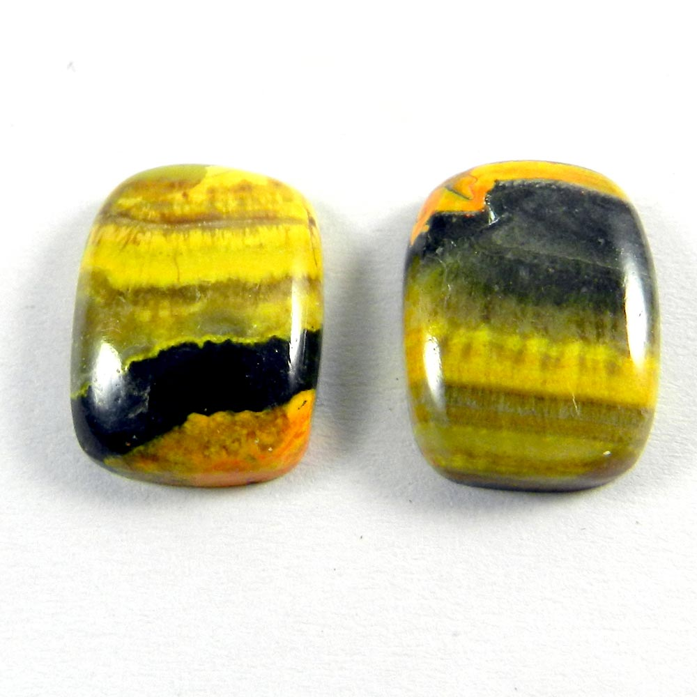 1 Pair Bumble Bee Jasper 16x12mm Cushion Cabochon 18.70 Cts