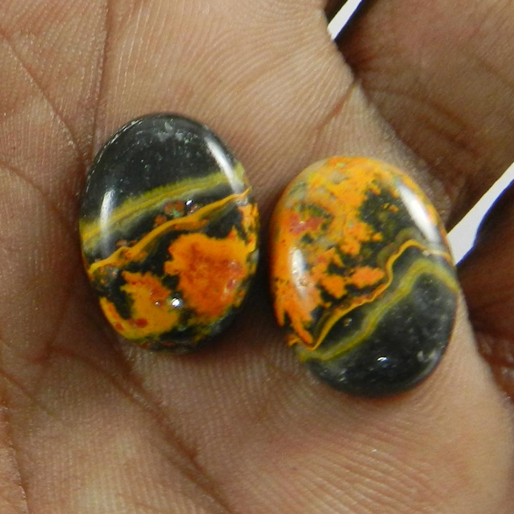 1 Pair Bumble Bee Jasper 17x13mm Oval Cabochon 22.45 Cts