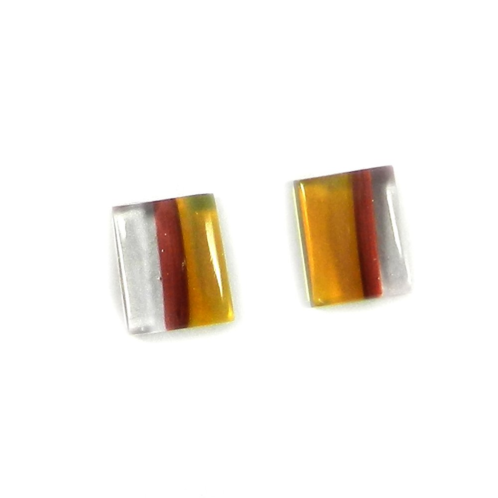 1 Pair Dichroic Glass 10x8mm Rectangle Cabochon 4.55 Cts