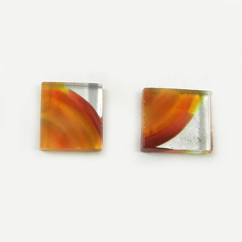 1 Pair Dichroic Glass 13x13mm Square Cabochon 13.0 Cts