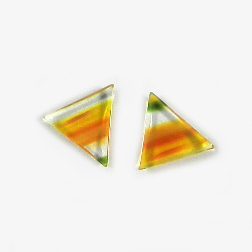 1 Pair Dichroic Glass 14x11mm Triangle Cabochon 4.60 Cts