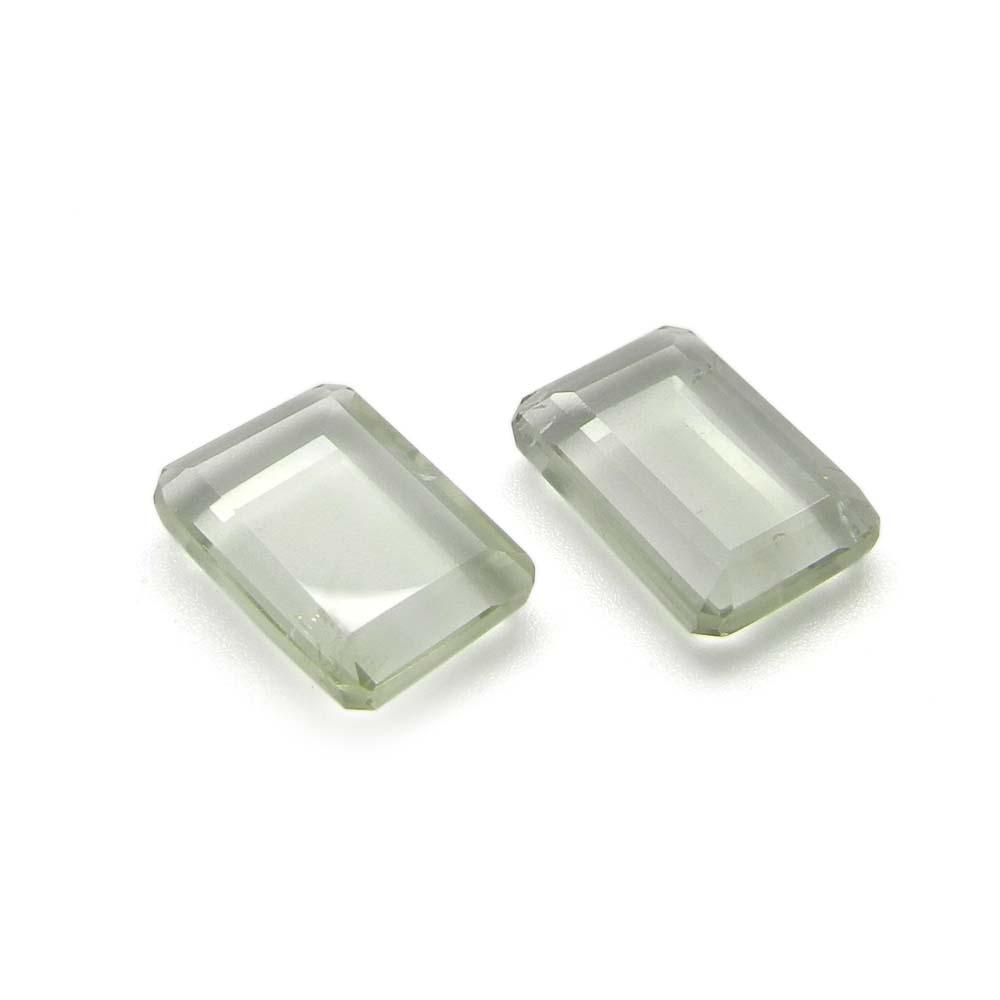 1 Pair Natural Green Amethyst 14x10mm Octagon Tablet Cut 11.20 Cts