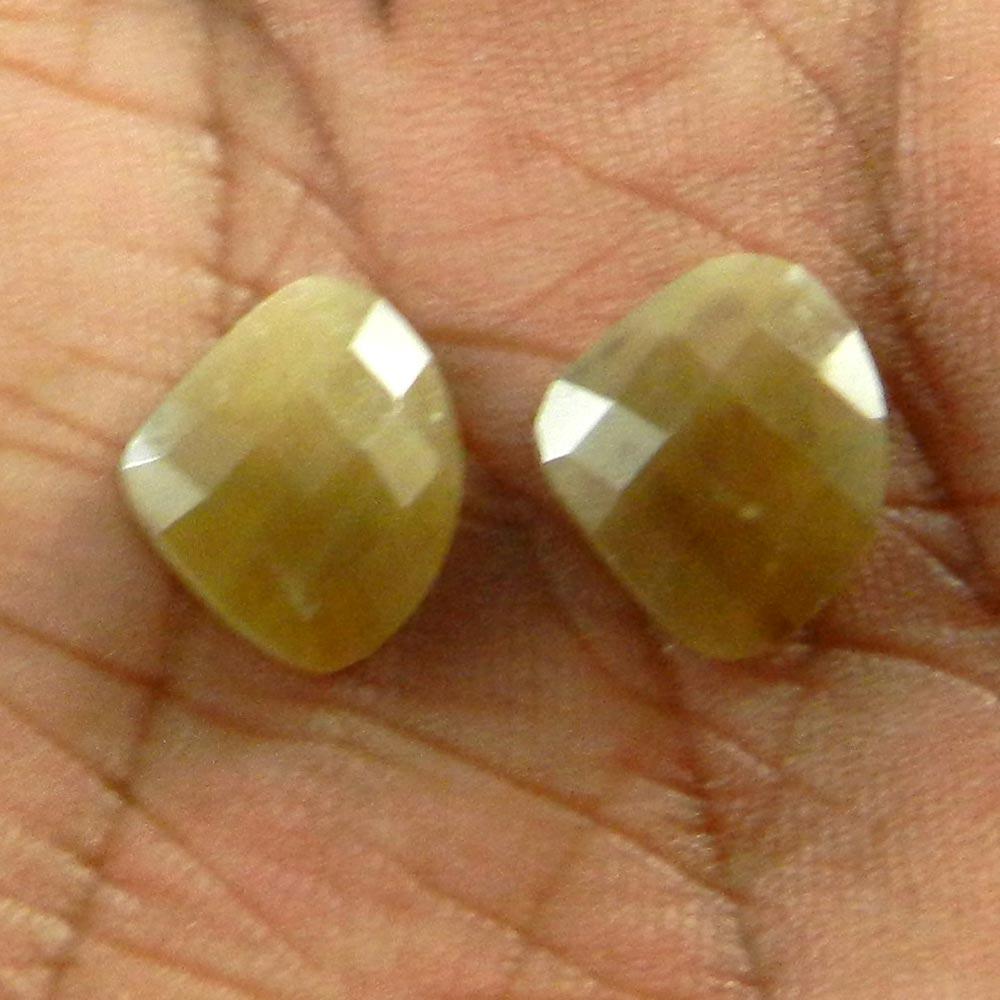 1 Pair Yellow Sapphire 23x16mm Heart Checkerboard Cut 7.50 Cts
