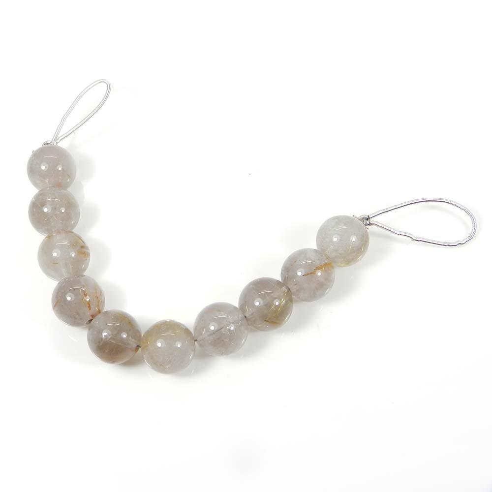 10 Pcs Golden Rutile Quartz 10mm Round Smooth Gemstone Strand Beads