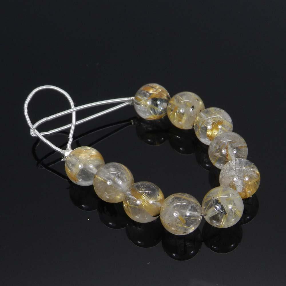 10 Pcs Golden Rutile Quartz 9.5mm Round Smooth Gemstone Strand Beads