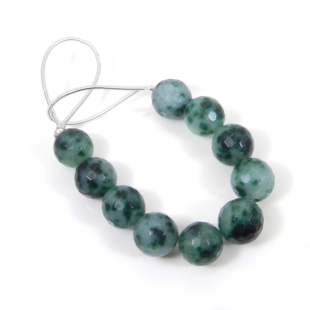 10 Pcs Natural Moss Agate 9mm Round Facet Gemstone Strand Beads
