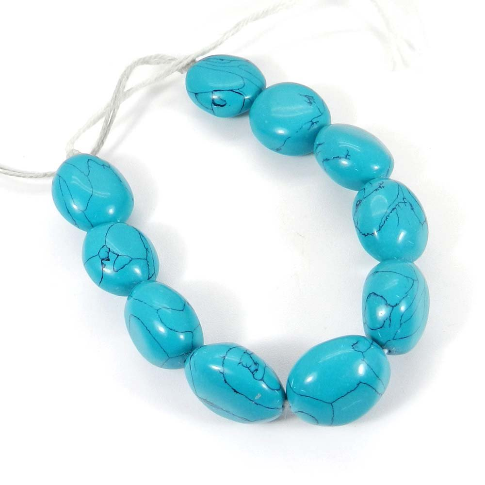 10 Pcs Syn. Green Turquoise 17x15mm Tumble Smooth Gemstone Strand Beads