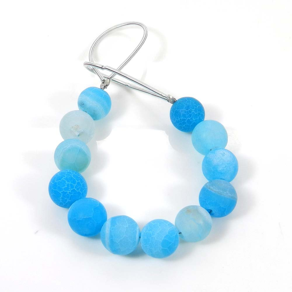 12 Pcs Blue Frosted Agate 7.5mm Round Smooth Gemstone Strand Beads