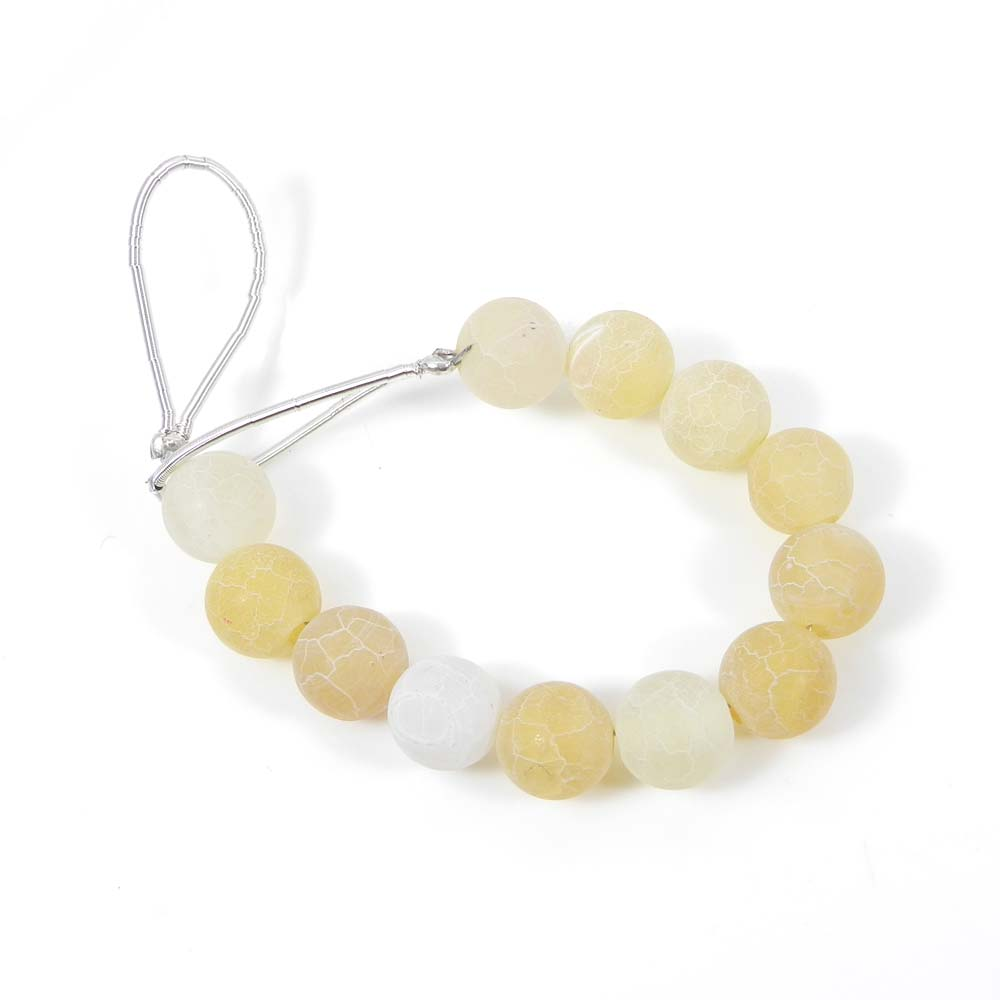 12 Pcs Yellow Frosted Agate 7mm Round Smooth Gemstone Strand Beads