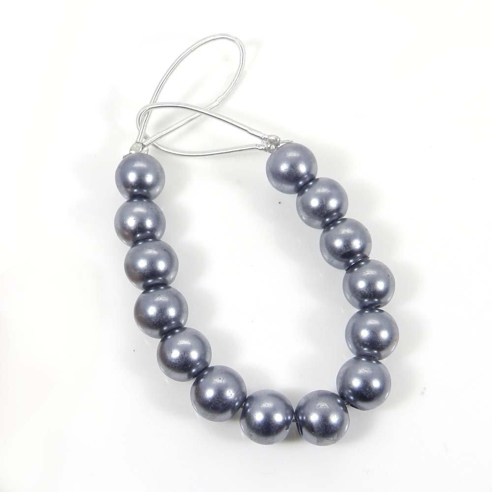 14 Pcs Grey Pearl 7mm Round Smooth Gemstone Strand Beads