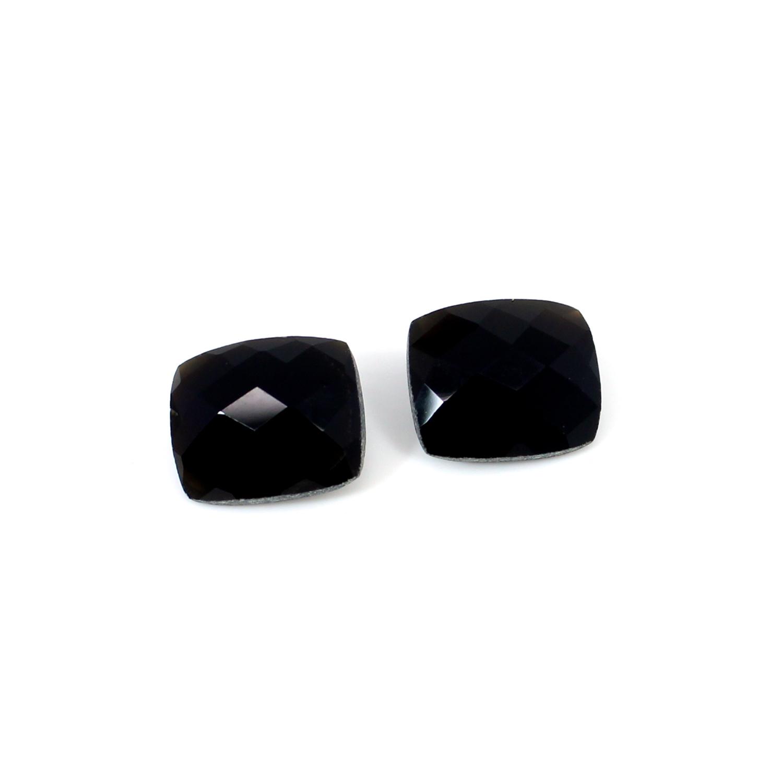 14x12mm Natural Black Onyx 1 Pair Cushion Checker 16.6 Cts Loose Gemstone