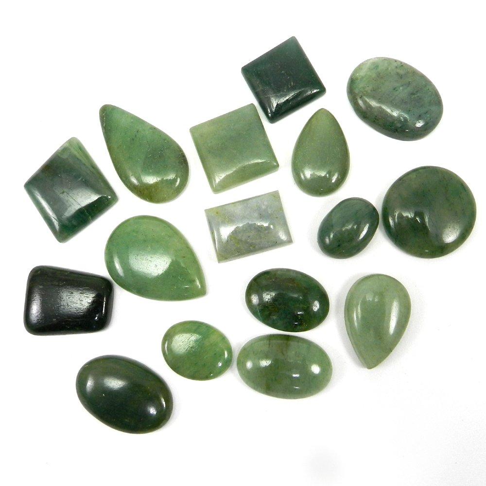 16 Pcs Green Aventurine Mix Freeform Cabochon 100 Gms