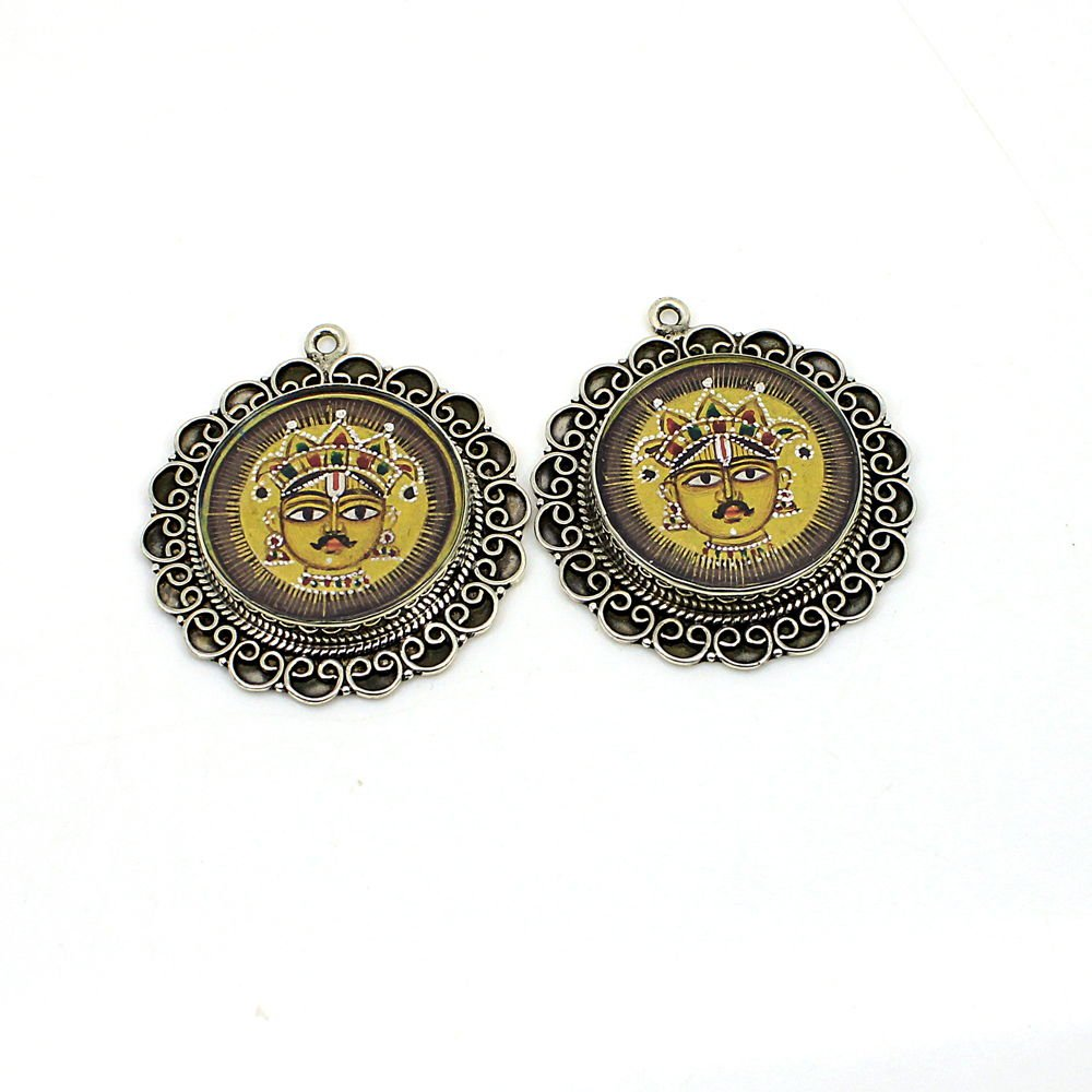 2 Pcs 925 Silver Hindu Lord Sun Face Charm Hand Painted Single Loop Connector