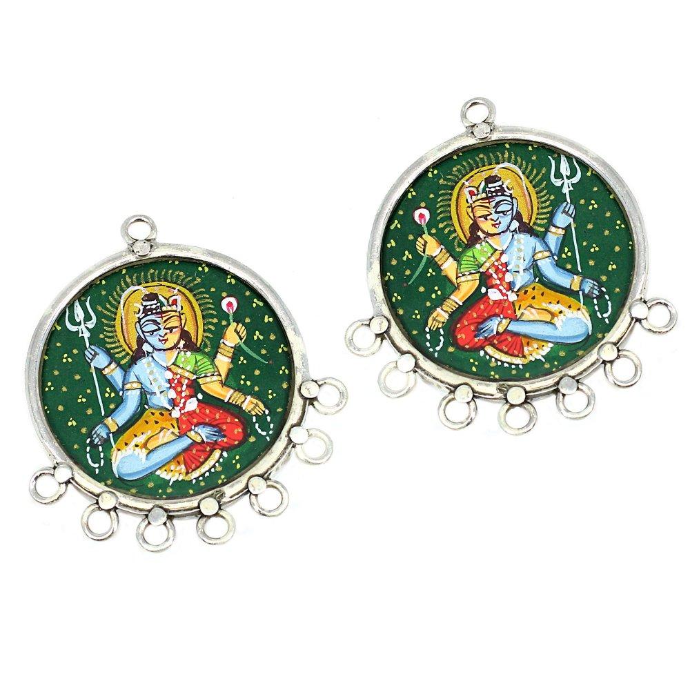 2 Pcs Hindu Deity Ardhnarishwar Meditating Hand Painted Silver Eight Loop Connector