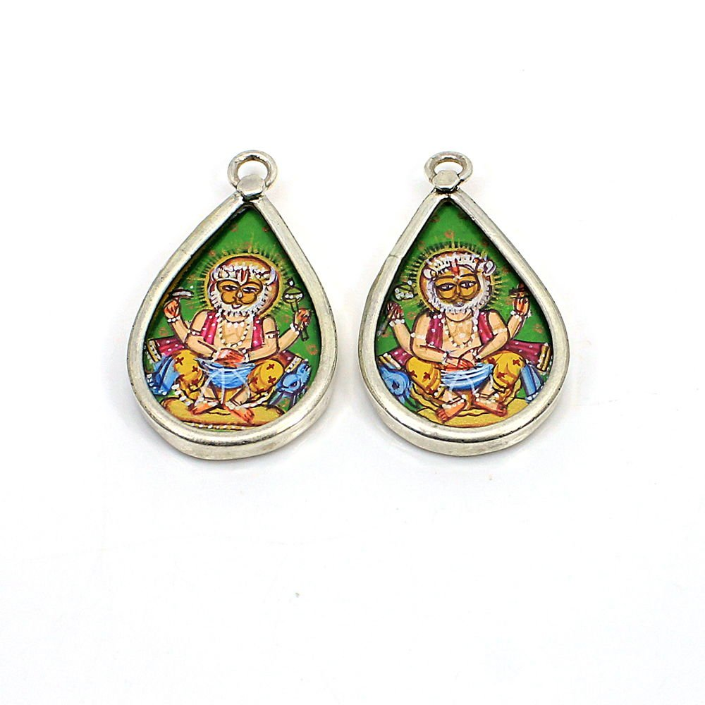 2 Pcs Lord Brahma Hand Painted Silver Single Loop Connector