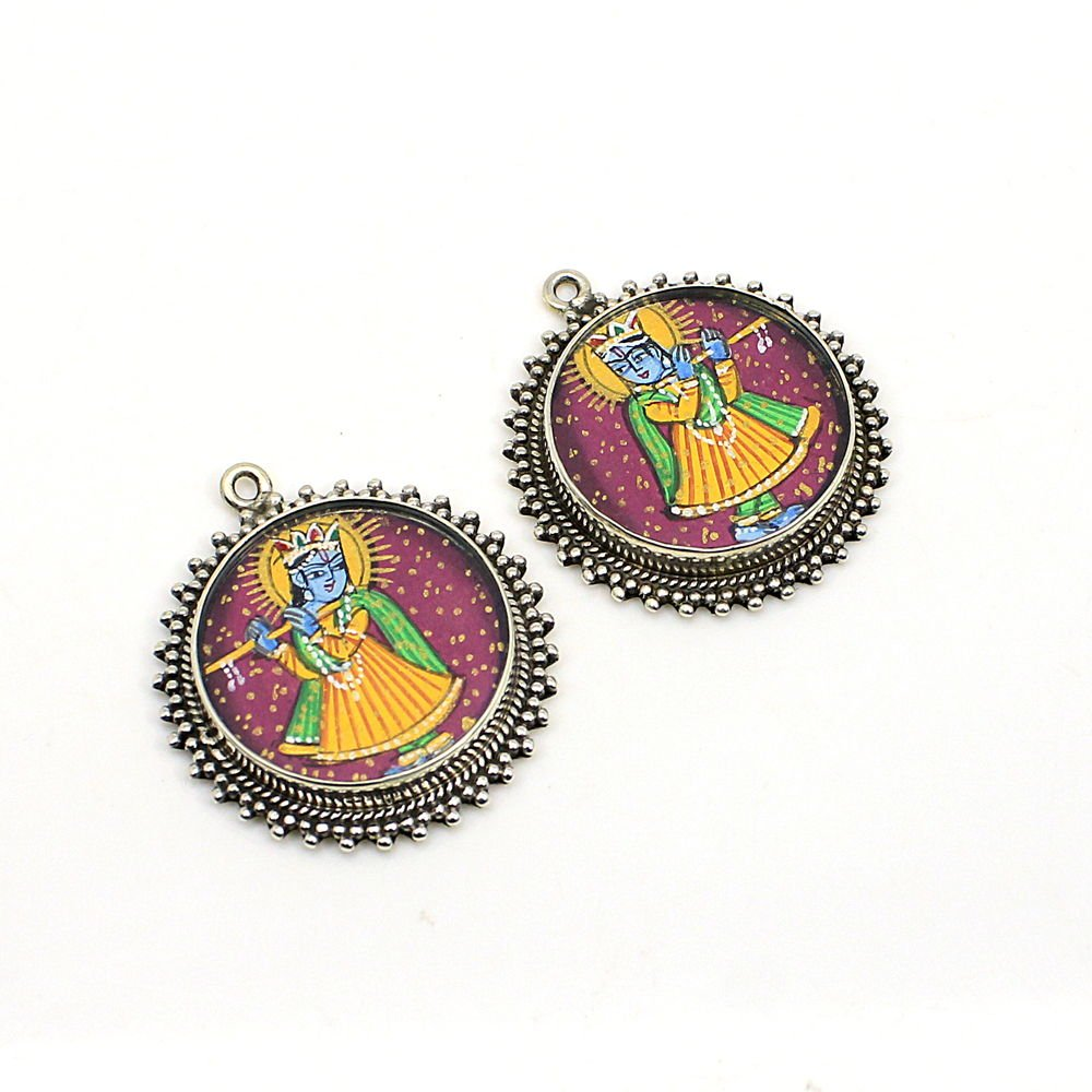 2 Pcs Lord Krishna Hand Painted Silver Single Loop Connector