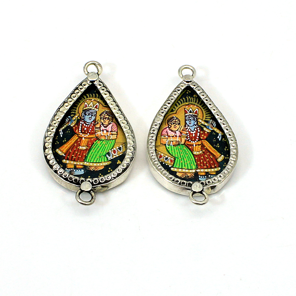 2 Pcs Radha krishna Silver Hand Painted Double Loop Connector