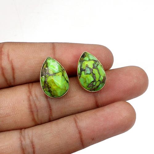2020 Bohemian Jewelry Natural Green Mohave Turquoise Stud Handmade Bezel Setting Stud Women Statement Earring Valentine Gift