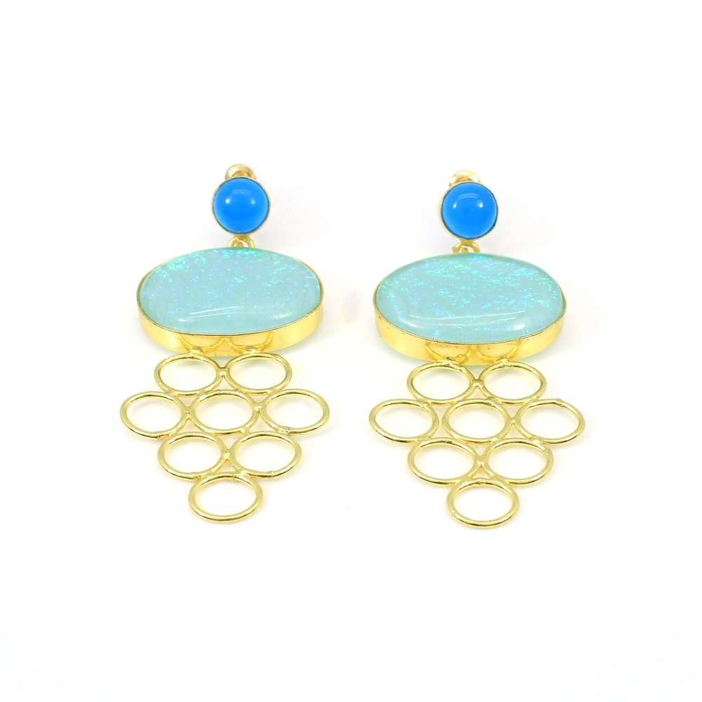 2020 Collection Chinese Opal & Blue Chalcedony Earring Handmade Gold Plated Earrings Classic Earrings