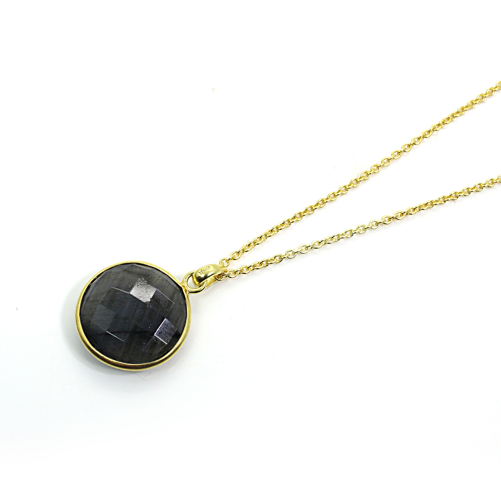 21 Inch Natural Labradorite Sterling Silver Gold Plated Chain Necklace