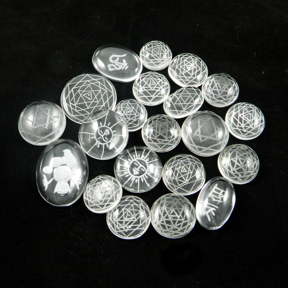 21 Pcs Natural Carving Crystal Mix Freeform Cabochon 100 Gms