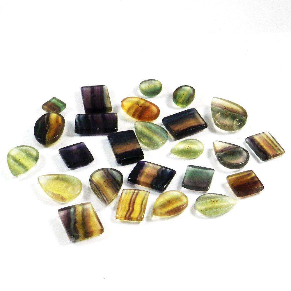 25 Pcs Natural Fluorite Mix Freeform Cabochon 100 Gms