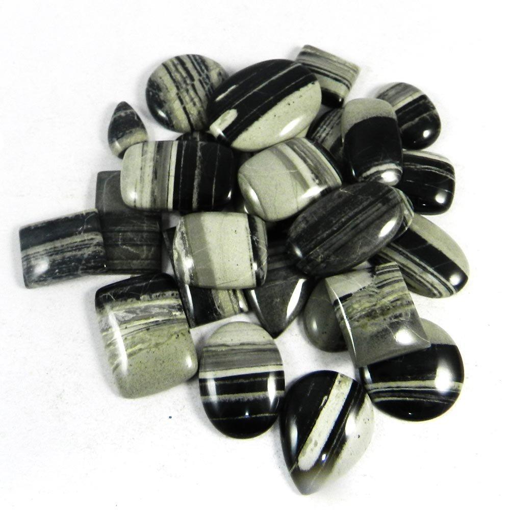28 Pcs Silver Lining Jasper Mix Freeform Cabochon 100 Gms