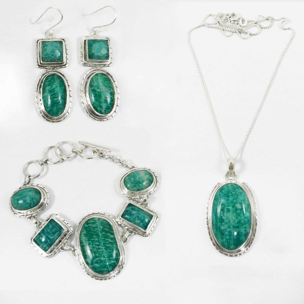 3 Pcs Amazonite Gemstone Designer 925 Sterling Silver Jewelry Set