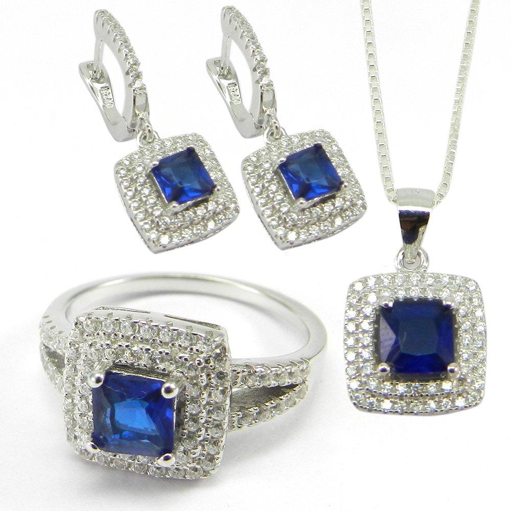 3 Pcs Blue Zircon & White CZ Designer 925 Sterling Silver Jewelry Set