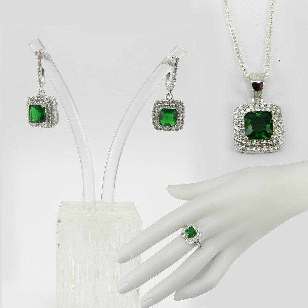3 Pcs Green Zircon & White CZ 925 Sterling Silver Designer Jewelry Set