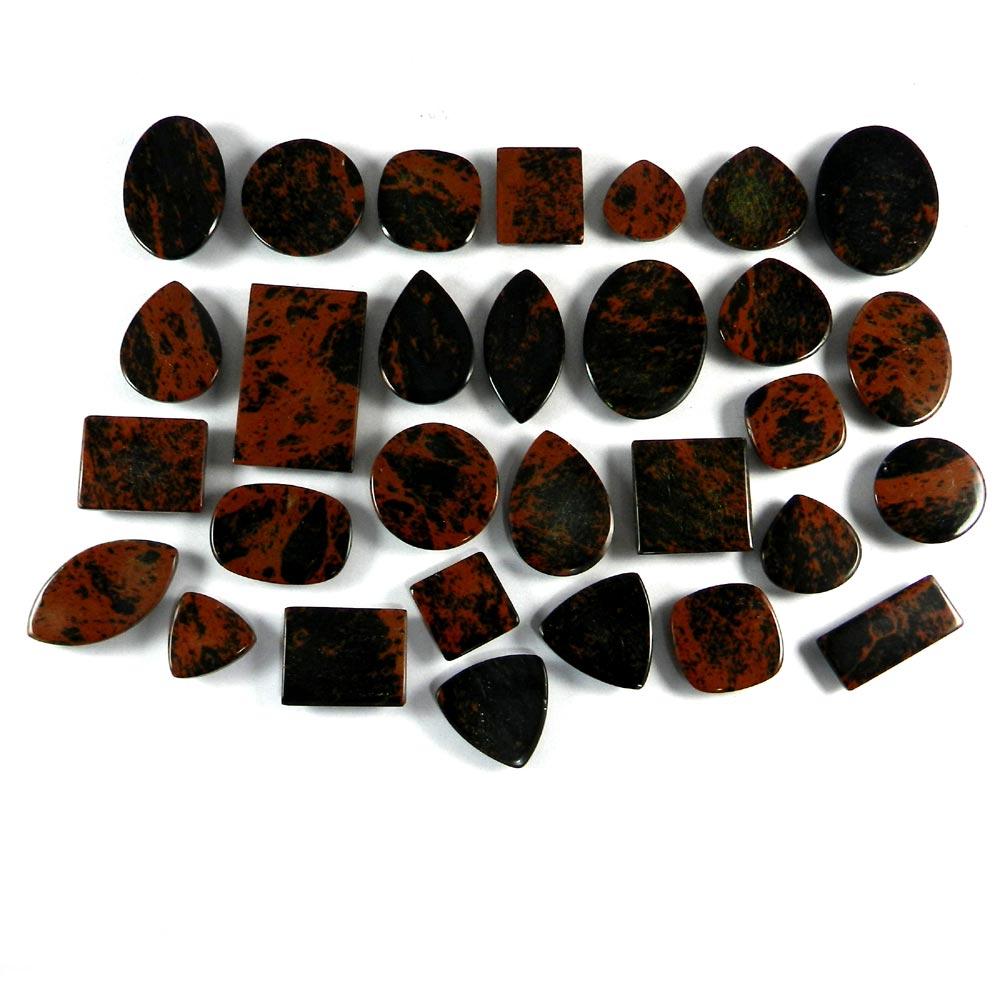 30 Pcs Mahogany Obsidian Mix Freeform Cabochon 100 Gms