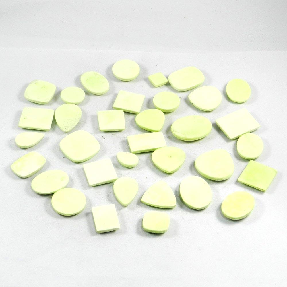 34 Pcs Lemon Matrix Chrysoprase Mix Freeform Cab 100 Gms