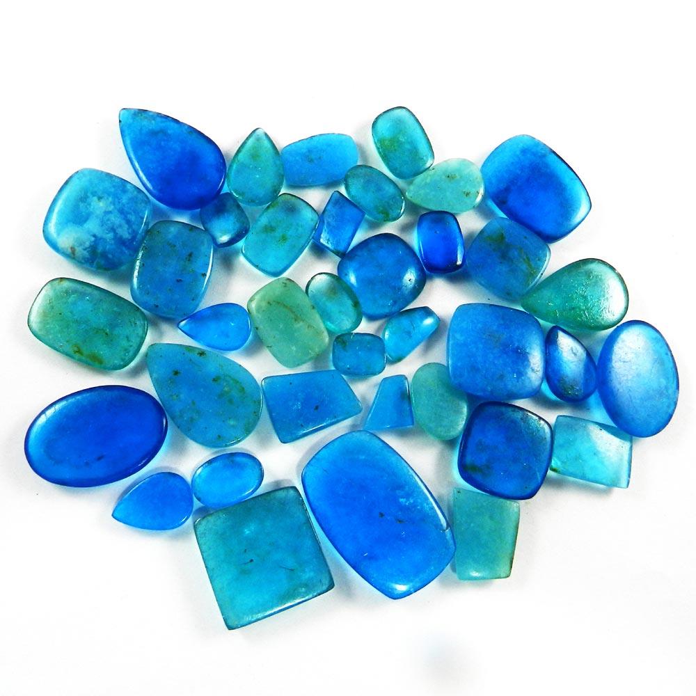 37 Pcs Natural Blue Quartz Mix Freeform Cabochon 100 Gms
