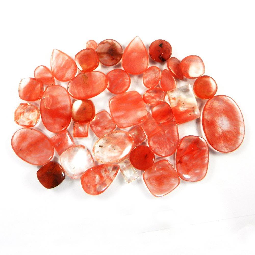 38 Pcs Cherry Crackle Glass Mix Freeform Cabochon 100 Gms