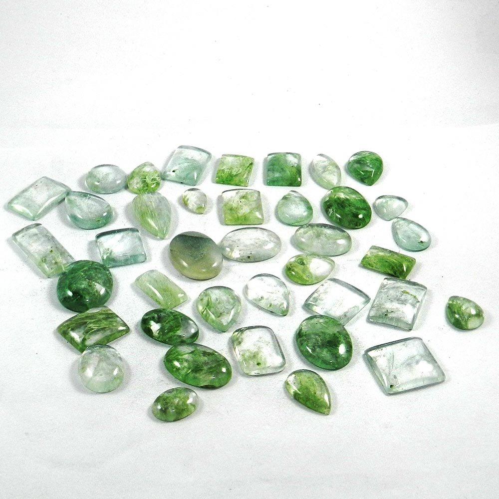 39 Pcs Aqua Crackle Glass Mix Freeform Cabochon 100 Gms