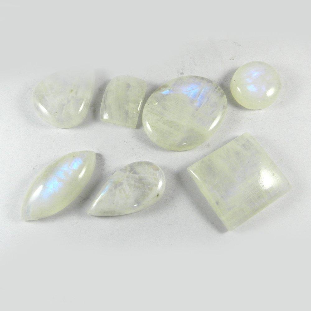 7 Pcs Rainbow Moonstone Mix Freeform Cabochon 100 Gms