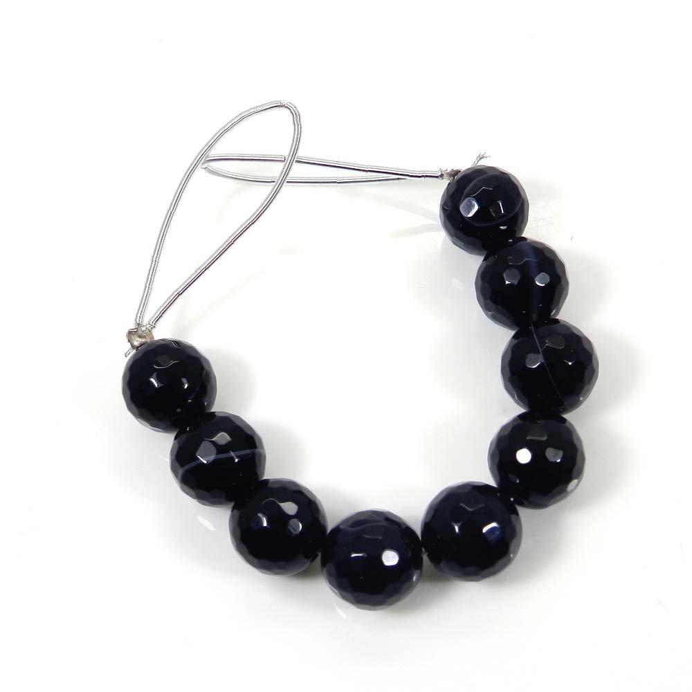 9 Pcs Black Banded Agate 9mm Round Facet Gemstone Strand Beads