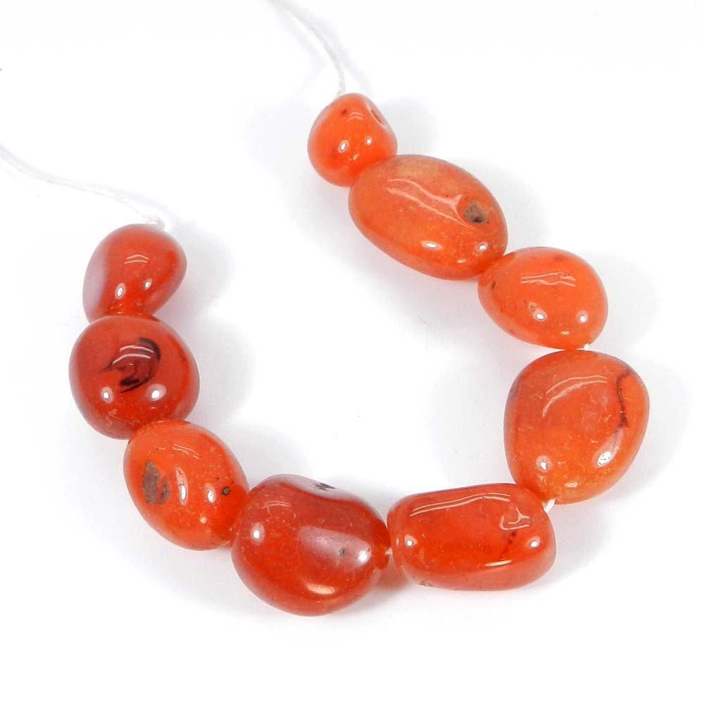 9 Pcs Natural Carnelian 20x17mm Tumble Smooth Gemstone Strand Beads