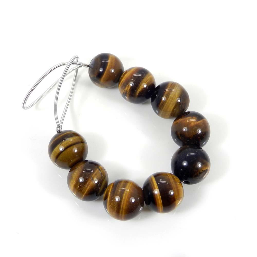9 Pcs Yellow Tiger Eye 11mm Round Smooth Gemstone Strand Beads