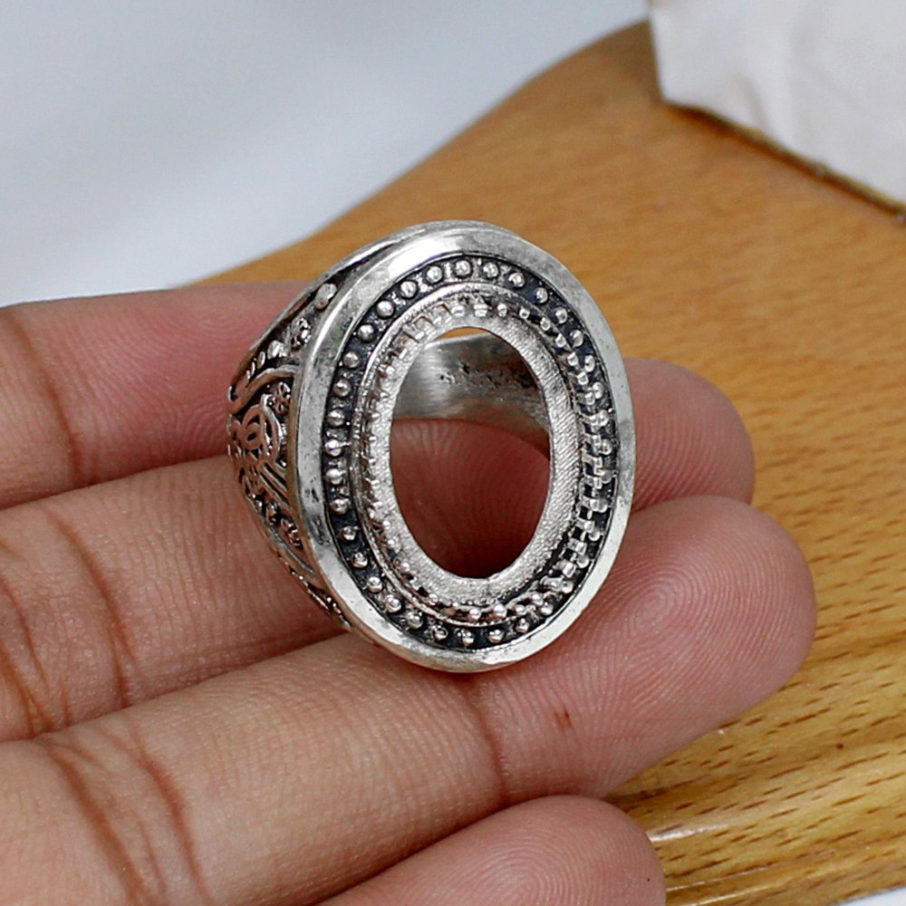 925 Silver 18x13mm Oval Stone Blank Cup Prong Set Men's Ring Collet