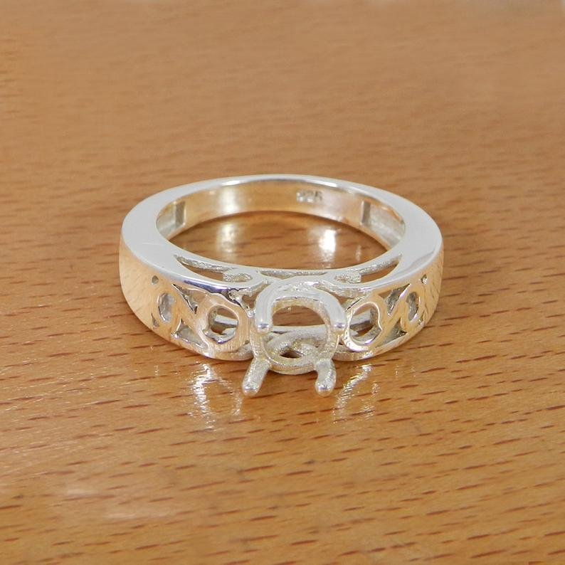 925 Silver 6mm Round Stone Prong Set Designer Component Ring Setting