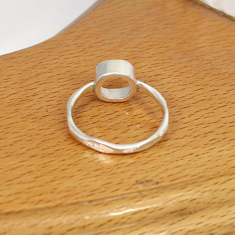 925 Silver 8x8mm Cushion Stone Hammered Band Blank Cup Bezel Set Ring Collet