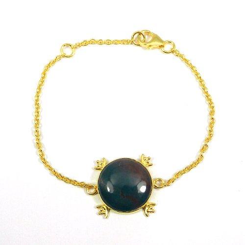 925 Silver Blood Agate Gold Plated Bezel Set Handmade Bracelet